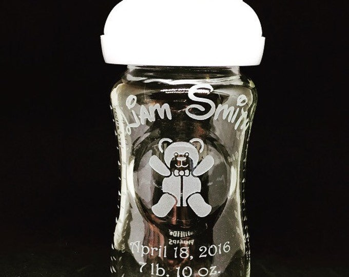 Personalized 8 oz. Glass Baby Bottle • FREE SHIPPING