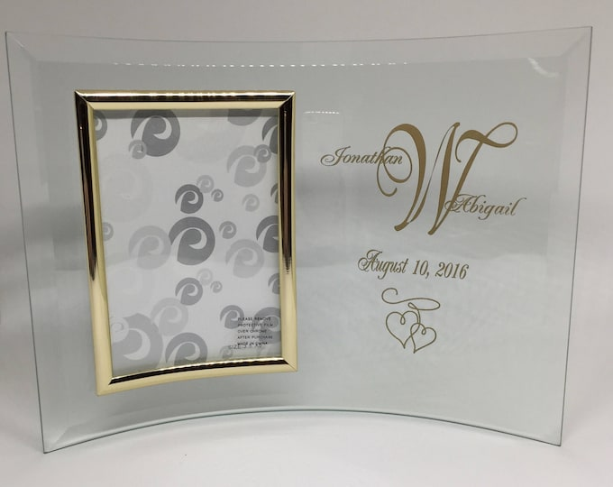 Personalized Bent Glass Wedding Frame • FREE SHIPPING