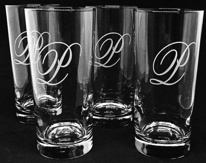Set of Four Engraved Cooler Glasses • FREE SHIPPING