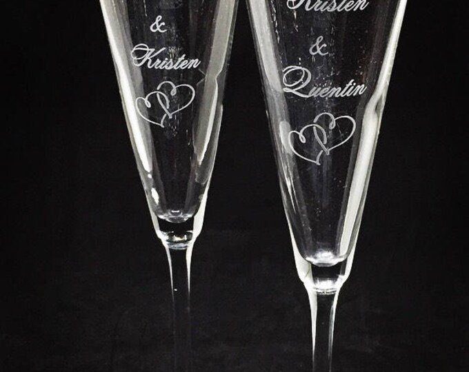 Personalized Trumpet Style Wedding Glasses • FREE SHIPPING