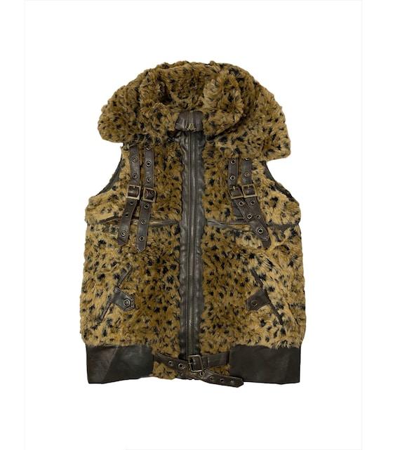 Vintage SY Top Leopard Faux Fur Tactical Vest Jack