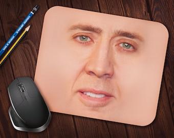Nicolas Cage Face Meme Mouse Pad, Neoprene Mousepad *Free Domestic Shipping*