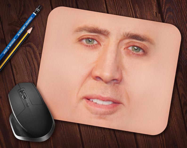 Nicolas Cage Face Meme Mouse Pad Neoprene Mousepad image 0