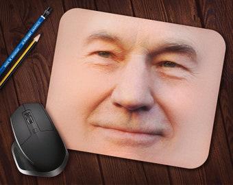 Patrick Stewart Face Meme Mouse Pad, Neoprene Mousepad (Jean-Luc Picard Star Trek) *Free Domestic Shipping*