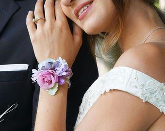 Purple corsage etsy bridesmaid wrist corsage wrist corsage blush corsage purple corsage rose corsage bridesmaid corsage silk flower corsage mightylinksfo