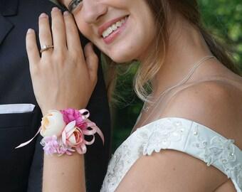 Bridesmaid Wrist Corsage, Wedding Flowers, Wedding Corsage, Pink Corsage, Blush Corsage, Prom Corsage