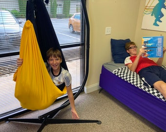 SWING - Double layered Autistic Therapy Compression Reversible Swing holds up to 165 pounds, Indoor or Outdoor (C-Stand Frame NOT included)