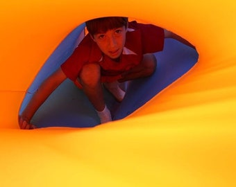 TUNNEL - Multicolored Therapeutic Compression Sensory Tunnel for kids with Autism and ADHD and special needs, with 2 or 3 handles,In/Outdoor