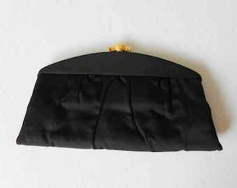 Soirée en Satin Noir Vintage embrayage fermoir or Lewis parti sac à main de soirée
