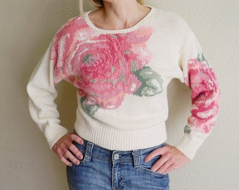 Vintage Athentic Forenza Sportwear Pink Rose Floral Knit Sweater Pullover Small Ramie Crew Neck