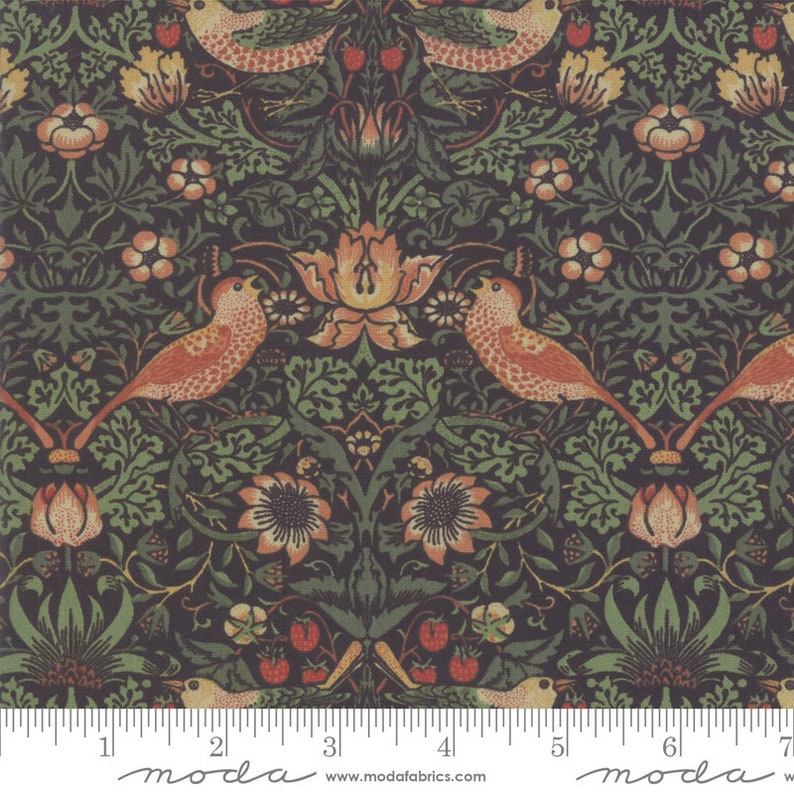 color Ebony Best of Morris Fall Strawberry Thief 12 yard continuous cuts 33490.17 1883 Replica,
