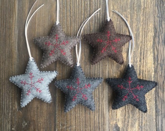 5 neutral felt stars with snowflake christmas star decorations wool felt rustic christmas brown grey ornament felt decorations