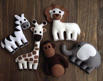 Stuffed Felt Mini Safari Animals, Soft Toys, Plushies, Felt Animals, Safari, Jungle, Lion, Giraffe, Zebra, Monkey, Elephant, Baby Shower