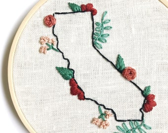 Home State Embroidery/State Embroidery/Modern Embroidery/Home Decor/Gardening/Houseplants/Indoor Plants/Floral/Botanical/State Art/Fiber Art
