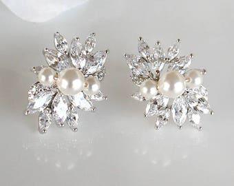 Eleanor - Swarovski Pearl Wedding Earrings, Bridal Stud Earrings, Crystal Post Earrings, Bridal Jewelry, Mother Of The Bride Groom Gift