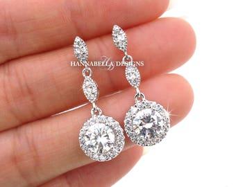 Gigi - Crystal Wedding Earrings, Bridal CZ Earrings, Cubic Zirconia Dangle Earrings, Vintage Wedding Jewelry, Bridesmaid Earrings Gift