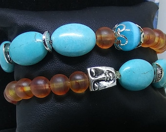 CLEARANCE, namate, glass Pearl and turquoise bracelet, gift