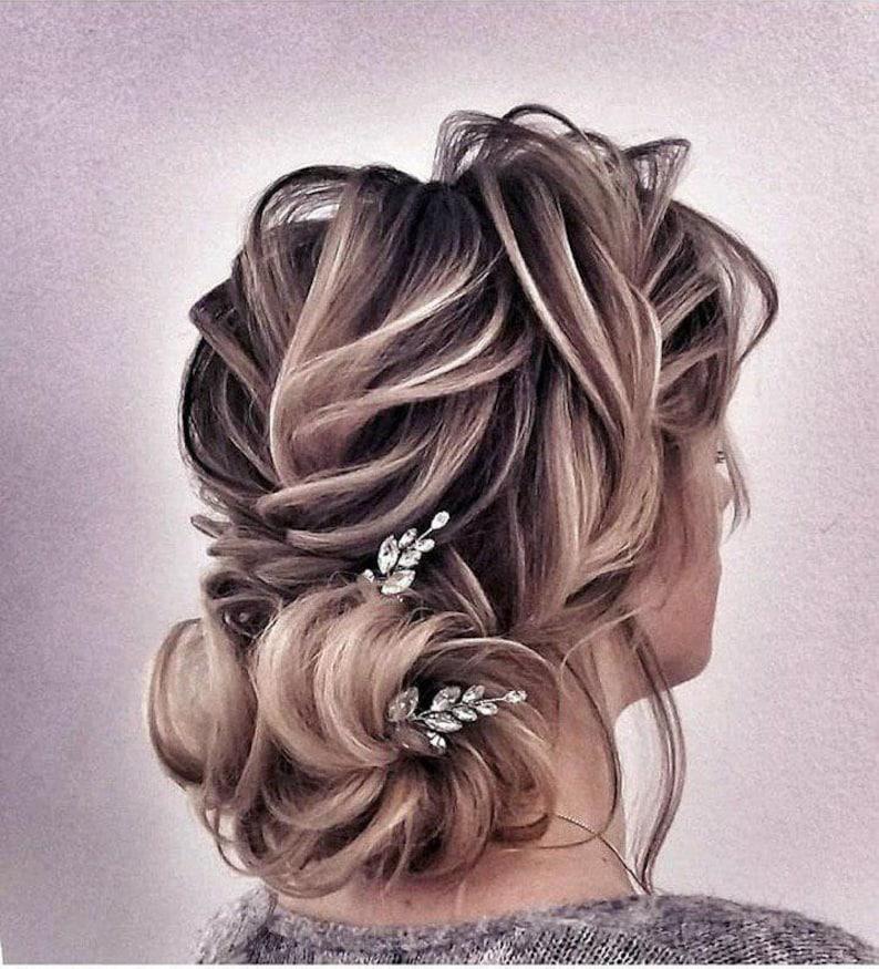 Set Of 2 Hair Pins Rhinestone Silver Bridal Hair Pin Bridesmaid Hair Piece Wedding Bobby Pins Silver Hair Comb Rhinestone Hair Accessories