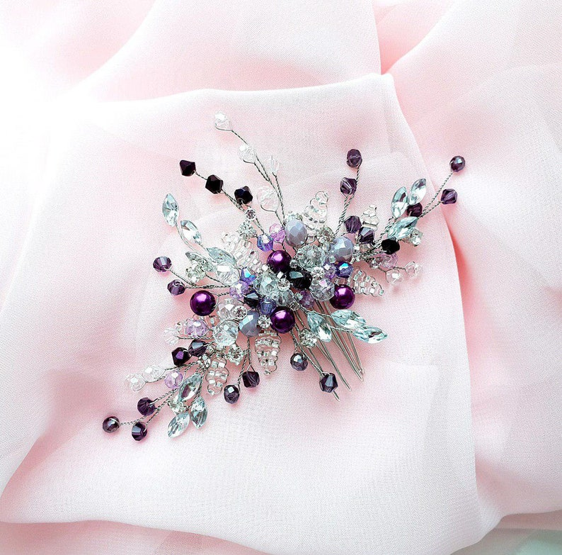 Purple Bridal hair comb-Wedding hair comb-Crystal Hair comb Wedding Hair piece-Bridal headpiece-Wedding accessories-Silver headpiece