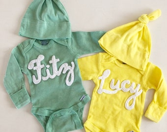 Onesie- Custom Personalized Baby Name Bodysuit ~ hand dyed 24e72a1f9