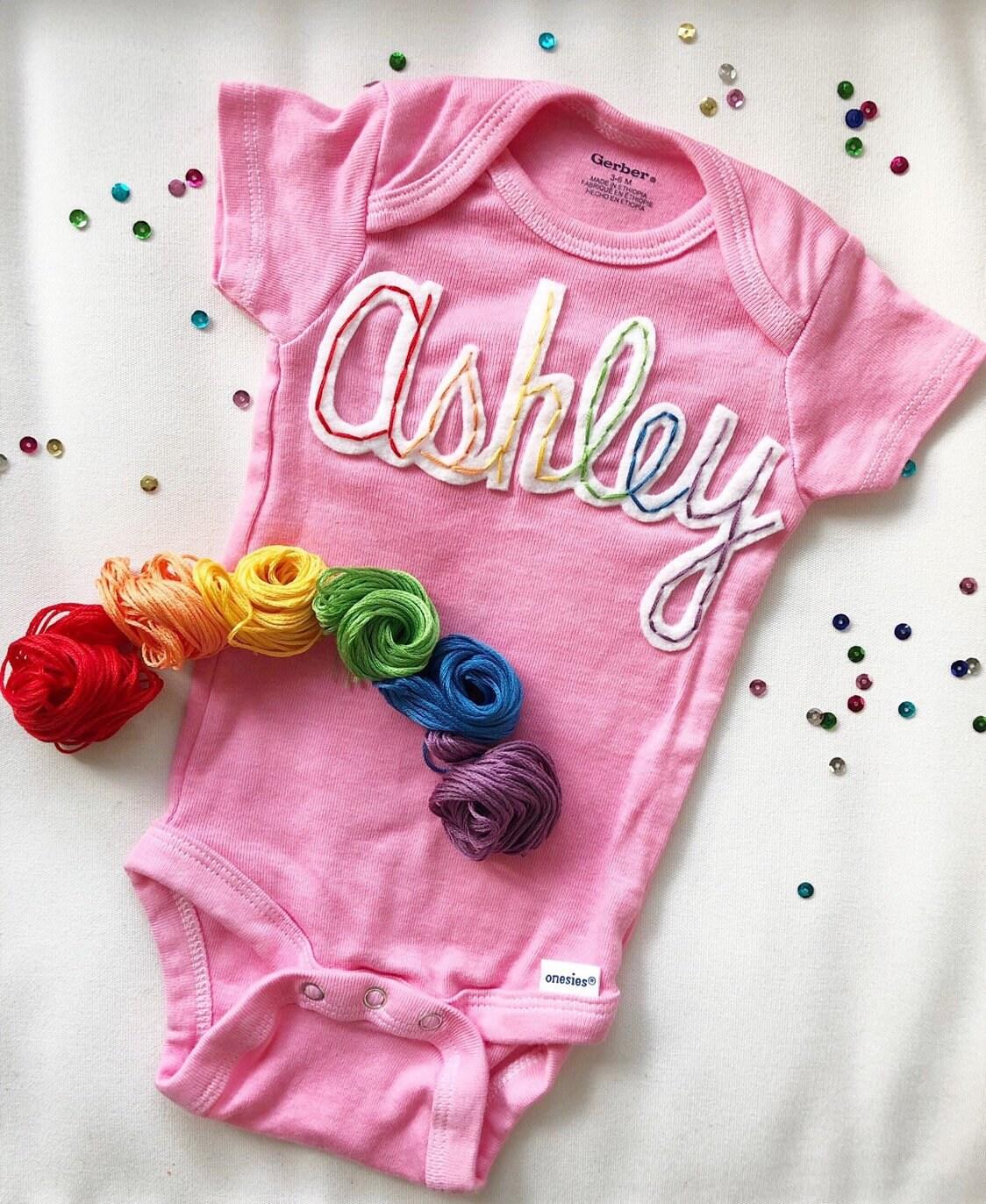0f6729d1a Rainbow Baby Onesie Custom Name Onesie Personalized Baby | Etsy