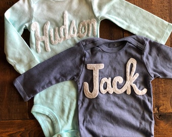Baby Name Onesie® - Custom Baby Name Onesies® - Hand Stitched Onesie® - Personalized baby top - coming home outfit