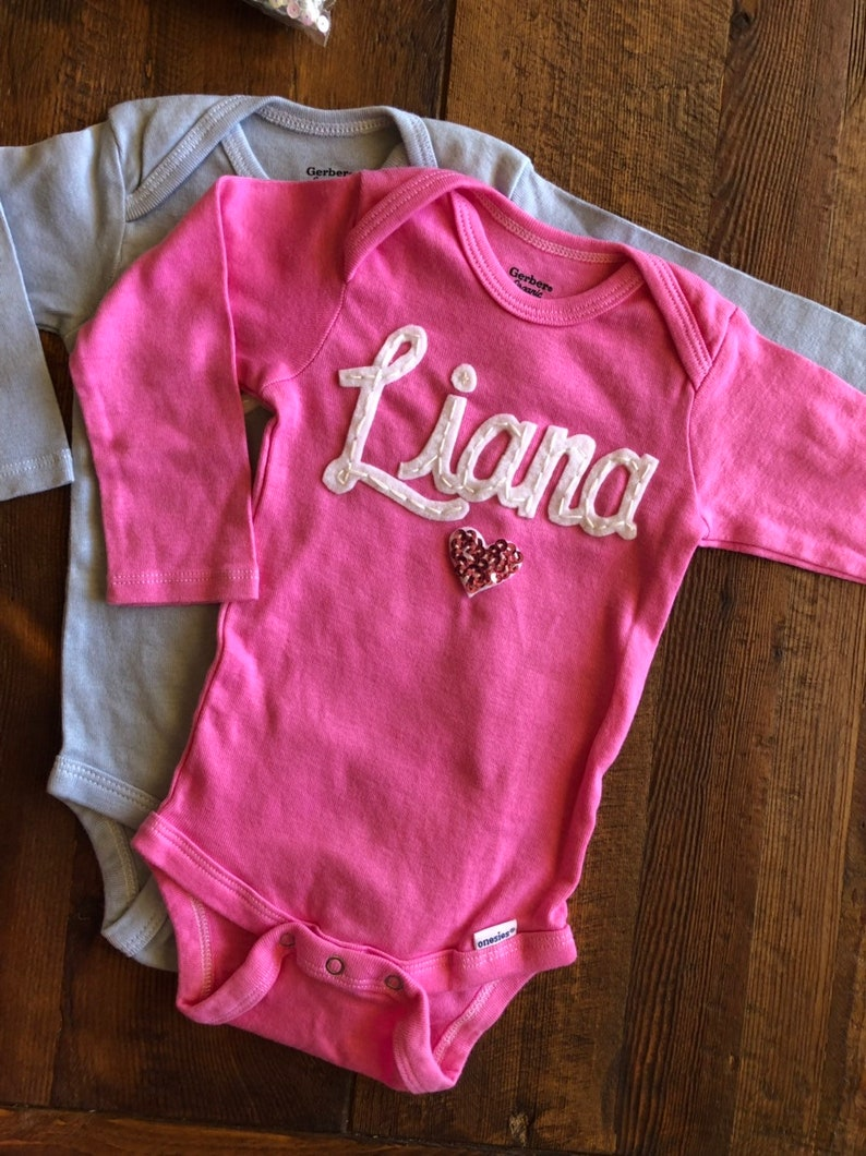 1cca2cde0 Sparkle Heart Onesie Custom name Personalized Baby Name | Etsy