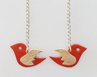 Red leather - handmade swallow earrings
