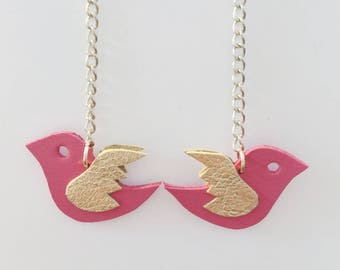 Pink swallow earrings made of leather - handmade