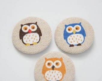 Set of 3 round badges fabric theme OWL - handmade