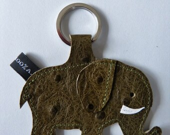 Elephant leather grain khaki ostrich - handmade keychain