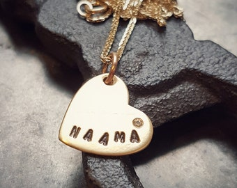 Diamond Necklace, Gold Heart Necklace, Heart Necklace Pendant, Engraved Necklace, Personalized Gold Necklace, 18K Necklace, Name, Initials