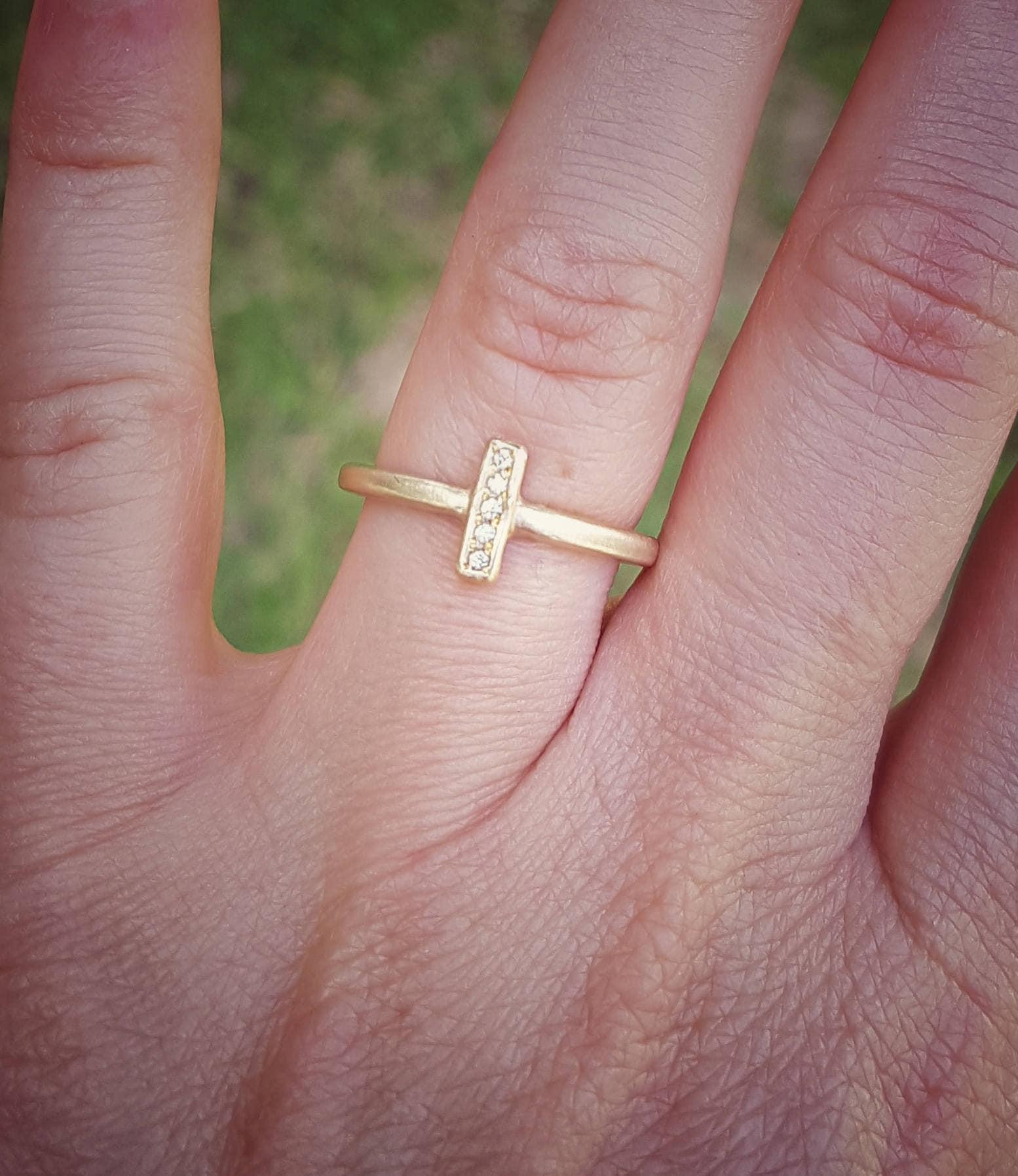 5 Diamond Ring 14K Gold Ring Diamond Engagement Ring Gold | Etsy