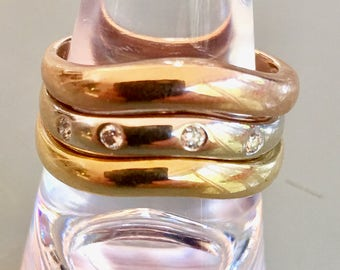 9ct, Yellow, White,and Rose Gold Diamond triple wave band ring