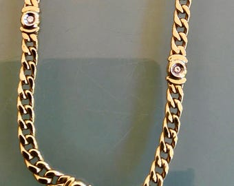 Gold Curb Link Diamond set Necklace 9ct ( NEW)