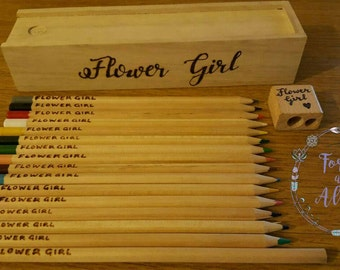 Flower Girl Gifts, Page boy, Wedding Stationery, Wedding Gifts, Personalised Gifts, Table gifts, Colouring Pencils, Wedding Table, Mr & Mrs,