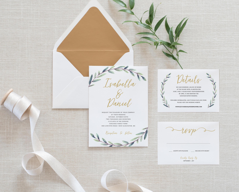 Printable Greenery Wedding Invitation Set Minimalist Simple