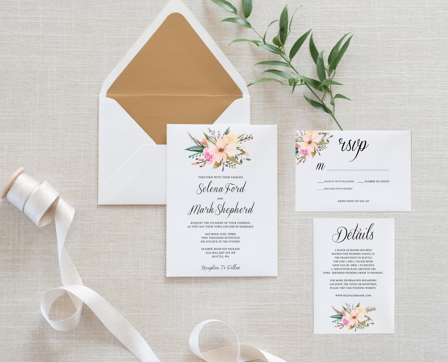 Ready To Print Wedding Invitations: Printable Wedding Invitation Set Minimalist Simple