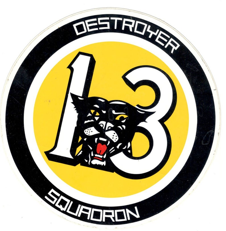 US Navy DESRON 13 Destroyer Squadron Insignia Decal Bumper Sticker Set 3,  6, 9 inch tall