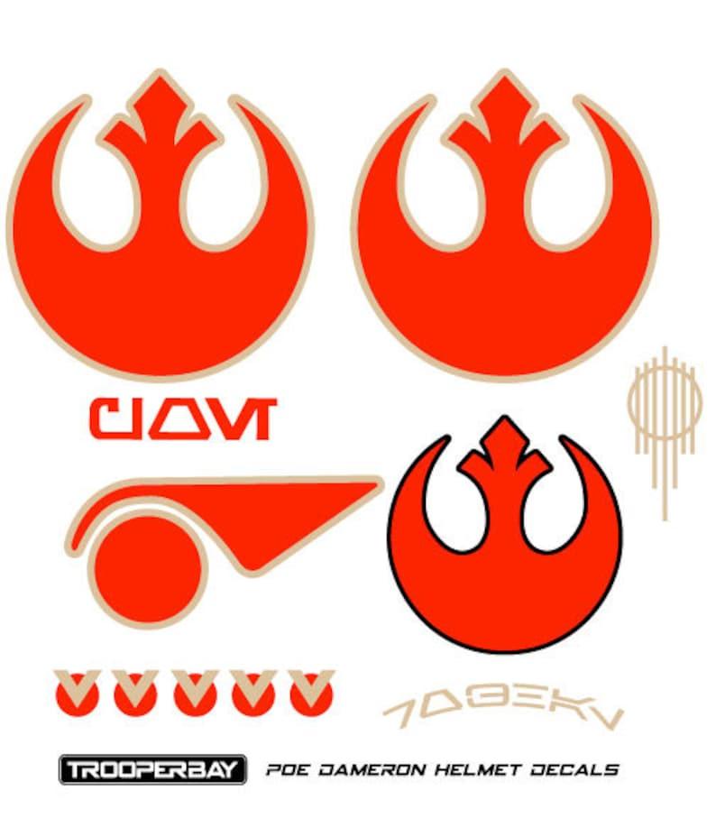 Poe Dameron Resistance X-Wing Pilot Helmet Decals Stickers Disney Star Wars  Armor