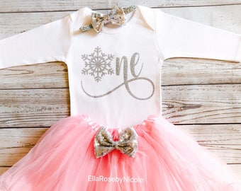 Onederland First Birthday Outfit Girl Baby 1st Pink Silver Snowflake Winter Tutu Set