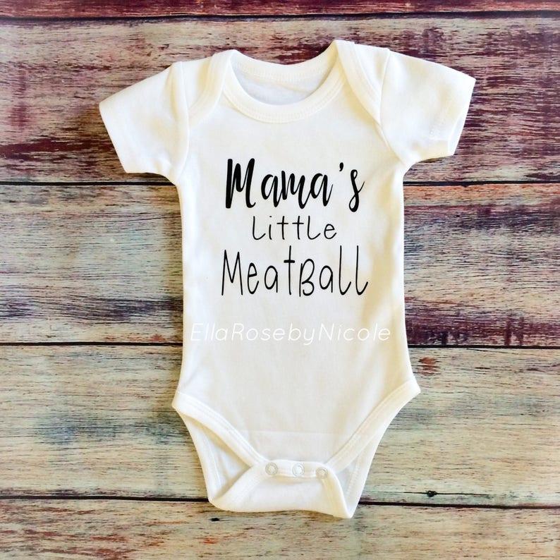 57fbf7a6bdbf Italian Baby   Mama s Little Meatball   Italian Baby Outfit