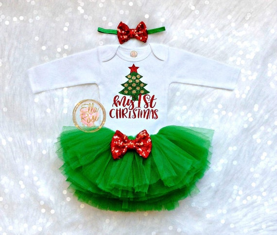 Checkered Skirt Bow -Cutest Christmas Outfit Girl Christmas Outfit Baby Girl My First Christmas Legwarmers My 1st Christmas bodysuit