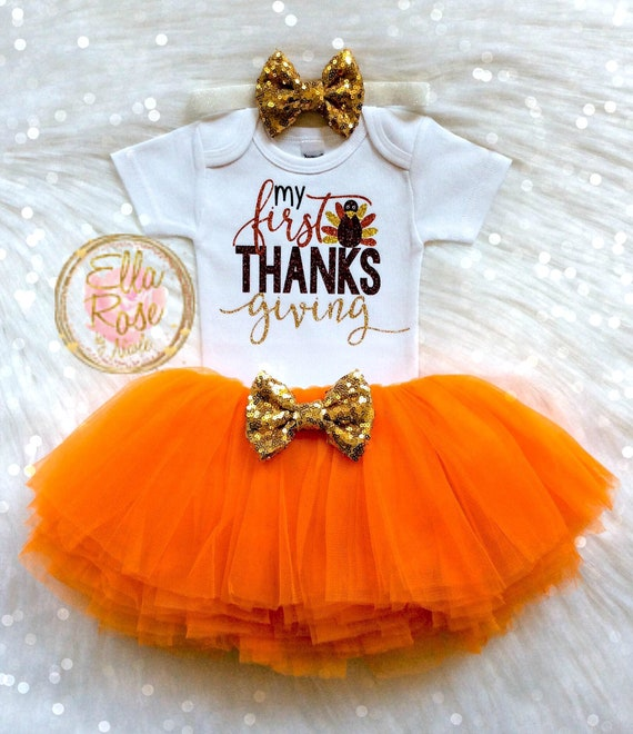 """Laughing Giraffe """"My 1st Thanksgiving"""" Gown 0-3 Months"""