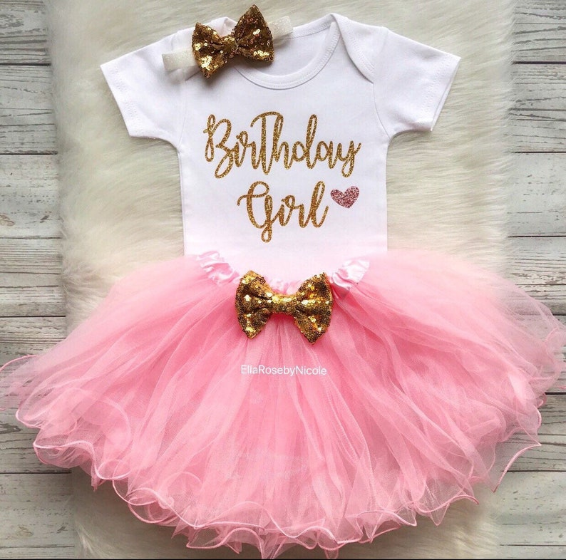 f3cd2d6a8 Birthday Girl Pink and Gold Tutu Outfit / First Birthday Girl | Etsy
