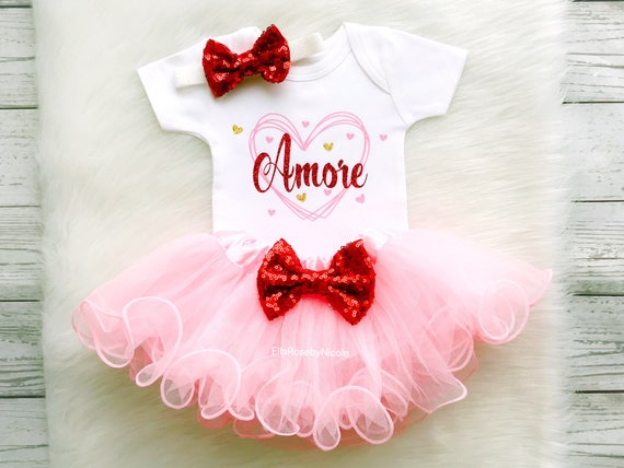 Baby Valentine S Day Outfit Baby Girl Amore Italian Baby Etsy