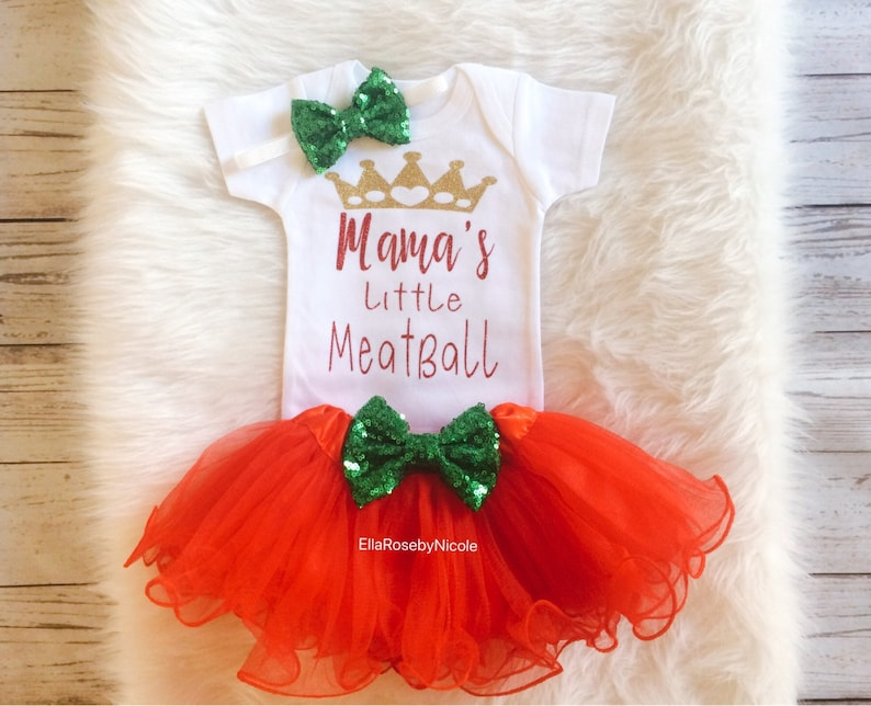 178695f3557b Mama s Little Meatball Outfit   Italian Baby Girl Outfit