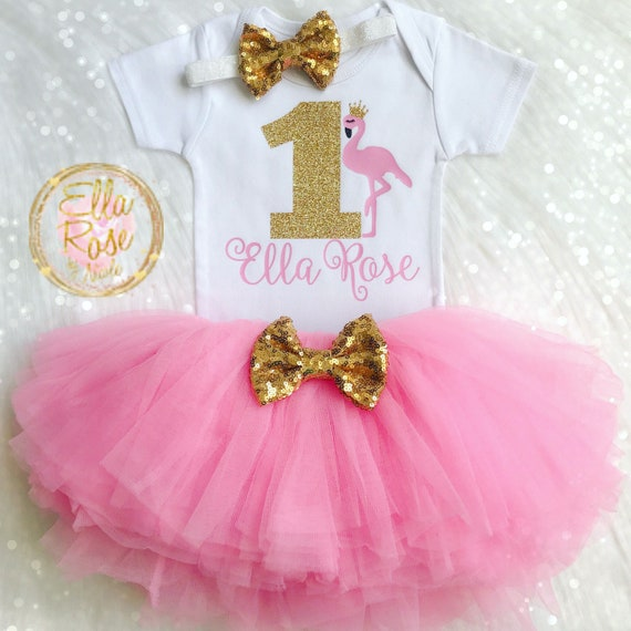 1st Birthday Outfit Girl.Flamingo 1st Birthday Outfit Girl Personalized Flamingo First Birthday Set Flamingo Baby Bodysuit Pink Tutu Gold Sequin Headband