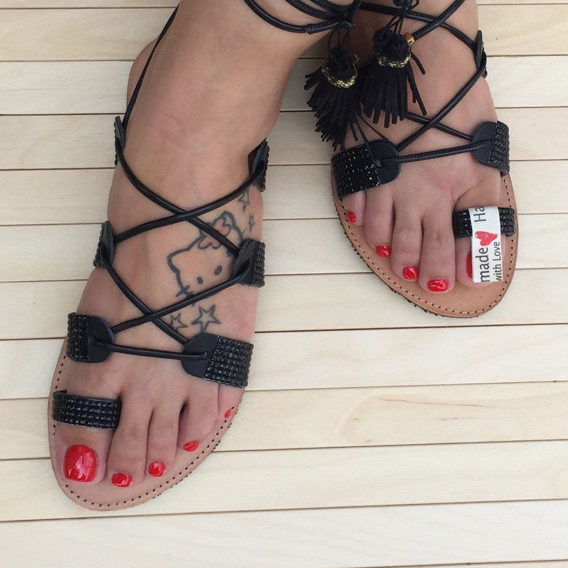 Tie Up Leather Sandals Black Mosaic Handmade - Big Sale oDm3n