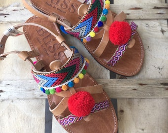 """Leather Sandals """"Eygenia"""" (Handmade to order)Kids sandals, Boho sandals, Girls sandals, Bohemian, Colorful, Ribbon, Unique,  Baptism, Summer"""